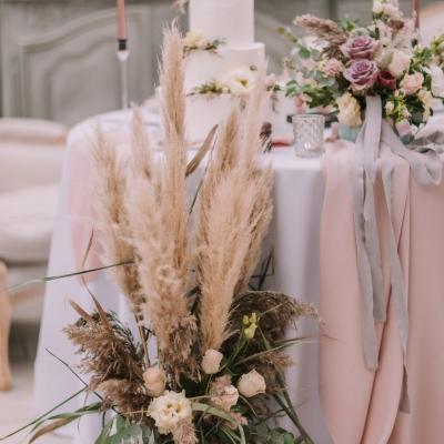 www Classy and elegant decor Dekoracje w dobrym guscie slub wesele szczecin pampasy roze kwiaty roz czern